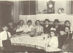 Savatsky Family of Providence Street at Passover Seder, 1915, Worcester Massachusetts. Photographer unknown.  Want a copy of this photo?  >Visit our rights and reproductions page for more information.    #Worcester #WorcesterMA #WorcesterHistory #Passover #Seder #JewishLife #1900s #Familes