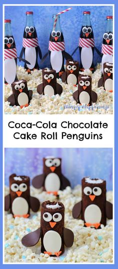 Over 30 Winter Themed Fun Food Ideas and Easy Crafts Kids Can Make - Over 30 Easy Winter themed crafts for kids to make and fun food treat ideas to brighten the house - Coca Cola, Penguin Party, Penguin Birthday, Penguin Craft, Chocolate Roll Cake, Chocolate Desserts, Winter Theme, Winter Fun, Winter Parties