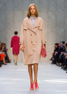 Camel knitted trench coat, sky blue organza shirt and pink rubber strap sandals - The Burberry Prorsum S/S14 Collection