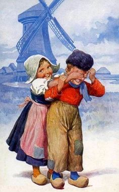 Ancienne carte illustrée : enfants hollandais