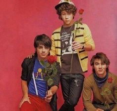 """The Jonas Brothers... my absolute favorite band in middle and high school broke up today.  I loved their first four albums, as well as Camp Rock, JONAS, Jonas L.A., etc.  I still have the poster this picture was on too.  RIP Jonas Brothers music, you are truly missed.  I hate that it had to end with """"Pom Poms""""."""