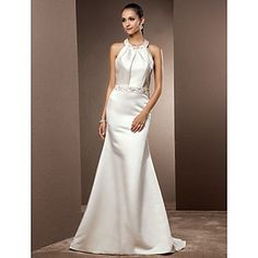 Trumpet/Mermaid Jewel Sweep/Brush Train Satin Wedding Dress – USD $ 113.99