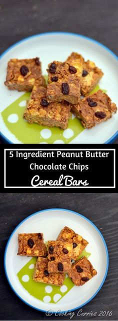 No Bake 5 Ingredient Peanut Butter Chocolate Chips Cereal Bars - Perfect for back to school breakfast and after school snacks. Little People Food - www.cookingcurries.com #spons