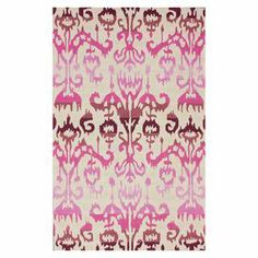 Wool rug with an ombre ikat-inspired motif.   Product: Rug Construction Material: 100% Polyester   Color: Pink, beige and burgundy  Features: Hand-tufted Note: Please be aware that actual colors may vary from those shown on your screen. Accent rugs may also not show the entire pattern that the corresponding area rugs have.Cleaning and Care: Can be spot treated with a mild detergent and water. Shake rug from time to time to restore its naturally good looks and beauty.