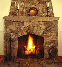 Shown: Lew French Stone Fireplace.