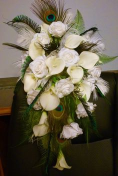Ivory rose calla lily real touch cascading by DressMyWedding