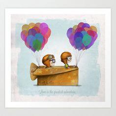 UP Pixar — Love is the greatest adventure Art Print by Ciara Panacchia - $17.68