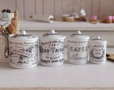 Vintage French Style Kitchen Metal Canisters for Dollhouse Miniature dollhouse cafe ideas French Bistro Kitchen, Paris Kitchen, Country Kitchen, Bistro Kitchen Decor, Teal Kitchen, Vintage Kitchen, Vintage Canister Sets, Kitchen Canister Sets, Miniature Kitchen