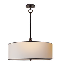 Visual Comfort TOB5011BZ-NP-BT Thomas O'Brien Ceiling Lights Reed Pendant in Bronze with Natural Paper Shade with Black Tape