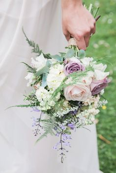 Romantic Vintage Rose Lilac Bouquet | Kate Halfpenny Iris Wedding Dress | Rachel Simpson Shoes | Lainston House Barn Venue | McKenzie Brown Photography | http://www.rockmywedding.co.uk/sarah-nathan/