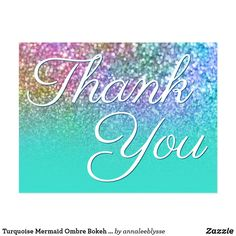 Turquoise Mermaid Ombre Bokeh Glitter Thank You Postcard