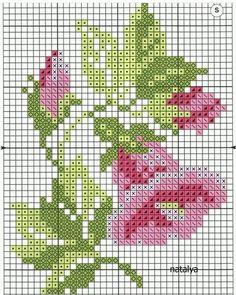 Cross stitch chart, a pink flower Small Cross Stitch, Cross Stitch Cards, Cross Stitch Rose, Cross Stitch Flowers, Modern Cross Stitch, Cross Stitch Designs, Cross Stitching, Cross Stitch Embroidery, Cross Stitch Patterns