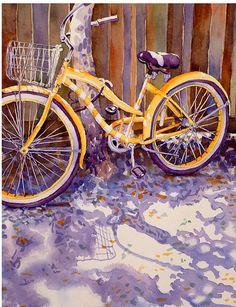 Watercolor Painting - the bicycle reminds me of the one I had when I was a kid...rode it everywhere.