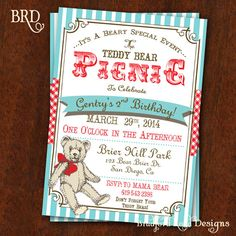 Welcome to Bradford Road Designs! Its a Bear-y Special Event! The Teddy Bear Picnic! This invitation that would be great for any age!