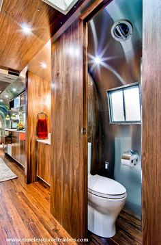 This 1962 Airstream trailer was originally owned by Western Pacific Railroad Company. Timeless Travel Trailers custom-designed the interiors and transformed it into a luxurious living space. Rv Bus, Airstream Campers, Airstream Remodel, Travel Trailer Remodel, Airstream Interior, Vintage Airstream, Bus Camper, Camper Renovation, Vintage Travel Trailers
