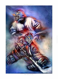 The Magician. The last of eight goalies in a series called the Goalie Archives. A series of art and stories about eight goalies who use their everyday skills and knowledge to help their teams to success. www.hockeyartist.com