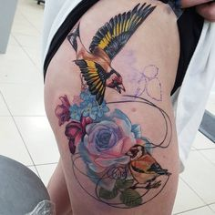 Got to do more on this yesterday x❤ Body Art Tattoos, I Tattoo, Cool Tattoos, Bird Tattoos, Goldfinch, Tattoo Inspiration, Tattoo Artists, Watercolor Tattoo, Tattoo Ideas