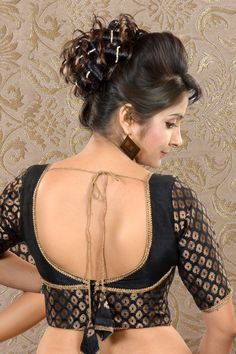 #Black & #Gold Raw Silk & Brocade combo #blouse -BL432