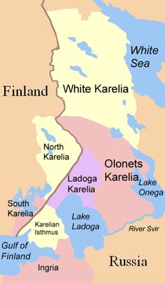 Karelia map over former Finland. Lake Ladoga, Europe's largest lake, with the mythical Valamo Island with the orthodox monastery in the middle of the lake. An island that my grandpa as a young boy rowed to from the Ladoga Karelia area.