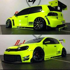 Fluorescent Yellow VW Golf