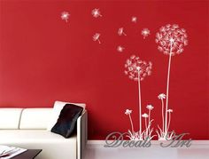 "Dandelion 47"" -Vinyl wall sticker- wall decal- tree decals- wall murals art- nursery wall decals- Nature- Children- Tree"