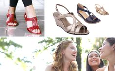 Easy Steps Mystic in Red Glove, Jessie in Pewter Patent, Caprice in Navy Glove