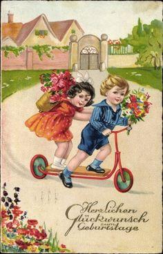 Ansichtskarte / Postkarte Glückwunsch Geburtstag, Zwei Kinder, Tretroller, Blumensträuße | akpool.de