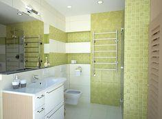 Zelený dekor so smotanovou... Viac náhľadov tejto vizualizácie na: Kupelnovy-manual.sk