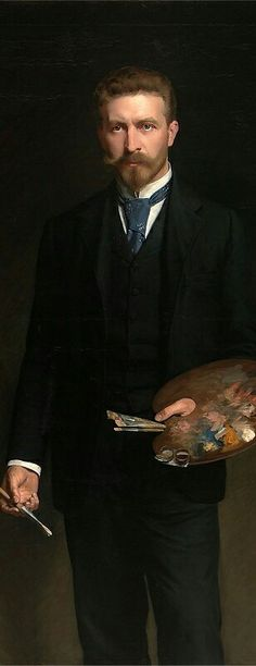 Kazimierz Pochwalski Polish painter - Self-portrait with Palette (1895) #portrait#kazimierzpochwalski#poland