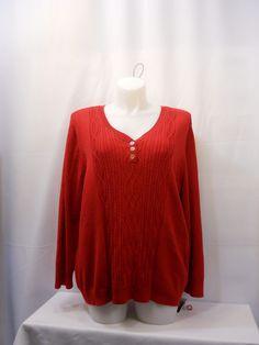 Karen Scott  Long Sleeves V-Neck 3 Button Sweater Plus Size 1X 2X 3X #KarenScott #VNeck