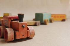 Vintage Wooden Toy Train- Children's Room Decor- Primitive Decor