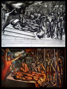 """Mural """"Tormento de Cuauhtémoc"""" de Siqueiros"""