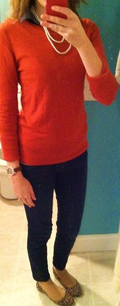 leopard flats, skinny jeans, orange sweater over oxford, pearls