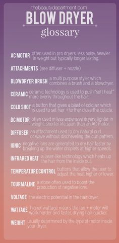 the beauty department blow dryer glossary part 1 Hair Cute, Great Hair, Laura Mercier, Natural Hair Care, Natural Hair Styles, Urban Decay, Cabello Afro Natural, Cosmetology Student, Goddess Hairstyles