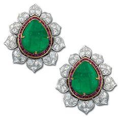 Emerald, ruby and diamond earrings