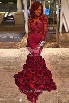 2c44c78554 Luxurious Burgundy Floral Long Sleeve 3D Roses Mermaid Formal Prom ...