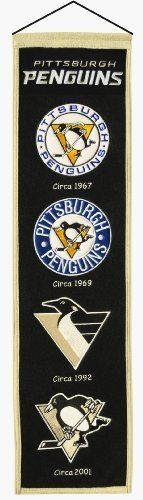 NHL Pittsburgh Penguins Heritage Banner by Winning Streak. $23.25. Show off your team pride with this quality wool banner featuring the logo history of your favourite team. This unique retro looking banner maintains the quality and old-school look of the banners of yesteryear. Banner measures approximately 8x32 inches and is constructed with a heavy wool blend fabric. It is hand-crafted using embroidery and appliqu?, and is sure to impress those who see it. Features: - Measures a...