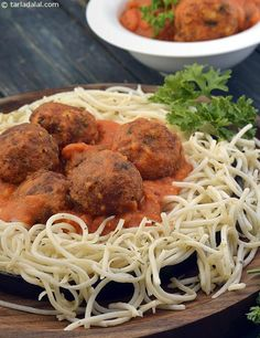 Cottage Cheese Balls in Tomato Sauce with Herbed Spaghetti recipe | Indian Vegetarian Recipes