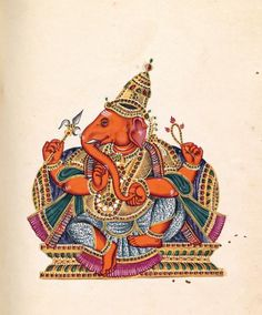 1 Tamil Ganesha illustration no. 97 in Album of Hindu deities Tamil Nadu, India opaque watercolour on paper x cm (page) National Gallery of Victoria, Melbourne Purchased with funds donated by Westpac Banking Corporation, 2009 Indian Traditional Paintings, Indian Art Paintings, Old Paintings, Mysore Painting, Tanjore Painting, Silk Painting, Lord Ganesha Paintings, Ganesha Art, Ganpati Drawing