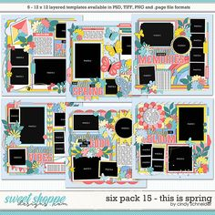 Cindy's Layered Templates - Six Pack This is Spring by Cindy Schneider Photo Drop, Digital Scrapbooking, Scrapbooking Ideas, Spring Photos, Scrapbook Templates, Christmas Scrapbook, Six Packs, Layout Template, Spring Break