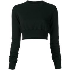 Rick Owens DRKSHDW cropped jumper ($381) ❤ liked on Polyvore featuring tops, sweaters, black, cotton sweaters, cropped jumper, jumper crop tops, drkshdw and jumper top