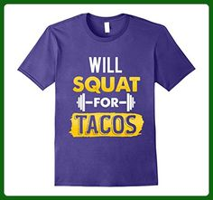 Mens Will Squat For Tacos Tee Shirt Gym T-Shirt Funny Shirts 3XL Purple - Workout shirts (*Amazon Partner-Link)