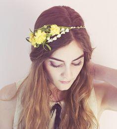 Goldenrod Flower Hair Crown - boho wedding