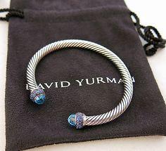 DAVID YURMAN Blue Sapphire & Topaz Sterling Silver Cable Cuff Candy Bracelet M - http://designerjewelrygalleria.com/david-yurman/david-yurman-blue-sapphire-topaz-sterling-silver-cable-cuff-candy-bracelet-m/