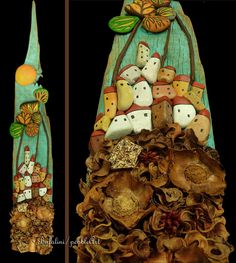 - paesaggi realizzati mediante assemblaggio di sassi dipinti e naturali su vecchie assi di legno e altri materiali di recupero - landscapes realized...