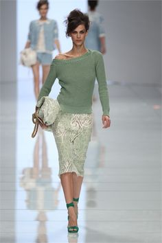 Love the look of the off the shoulder sweater with the pencil skirt.