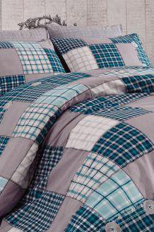 Conjunto de edredão algodão 58 fios/cm² Ekose - Azul e cinzento