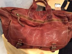 Duffel bag, washed leather