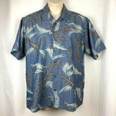 a8299ba9 Quiksilver Blue Gray Aloha Hawaiian Palm Large Shirt #Quiksilver #Hawaiian # Aloha #Blue