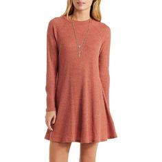 Charlotte Russe Rust Waffle Knit Mock Neck Shift Dress by Charlotte... ($27) ❤ liked on Polyvore featuring dresses, rust, long-sleeve mini dress, mini dress, red mini dress, red shift dress and short dresses